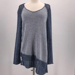 Chico's Blue Sweater With Asymmetrical Hem